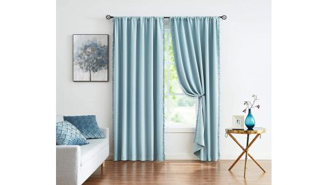 Blue Pompom Curtains for Bedroom