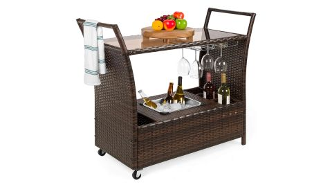 Best Choice Products Outdoor Rolling Wicker Bar Cart