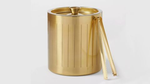 3L Stainless Steel Ice Bucket With Tongs, Gold