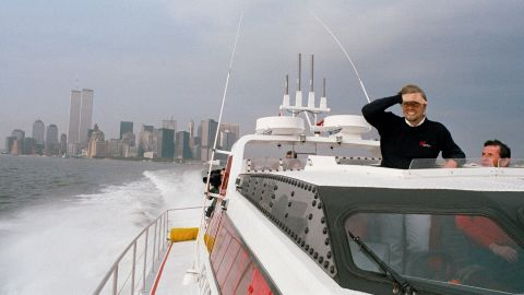 Branson pilots his speedboat, the Virgin Atlantic Challenger II, in New York Harbor in 1986. He zipped across the Atlantic in a record-breaking time of three days, eight hours and 31 minutes. He tried to break the record a year earlier, but his $2 million vessel sank.