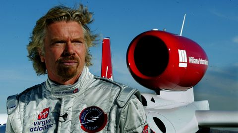 Branson unveils the Virgin Atlantic GlobalFlyer, a single-engine jet that Steve Fossett would later fly around the world in a little more than 67 hours.