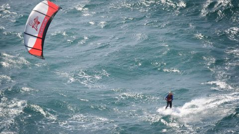 Branson kite-surfs the English Channel in 2012. At 61 years old, he was the oldest person to kite-surf the channel. He did it in three hours and 45 minutes.