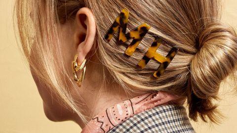 Tortoise Resin Initial Hair Pin