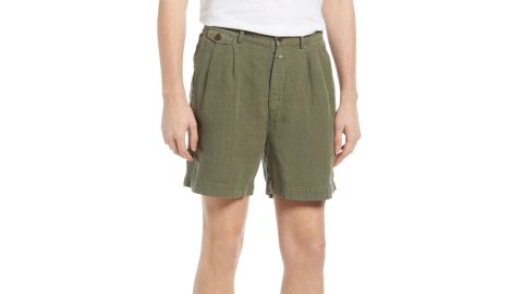 Closed Pleated Linen Shorts