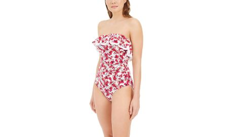 Tommy Hilfiger Floral Print Ruffled One-Piece Swimsuit