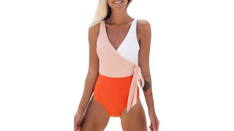 Cupshe Wrap Colorblock One-Piece Swimsuit