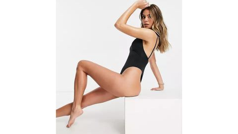Asos Design Recycled Tie Shoulder Thong Swimsuit