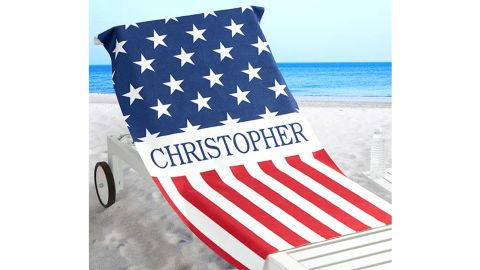 Red, White and Blue Personalized Beach Towel