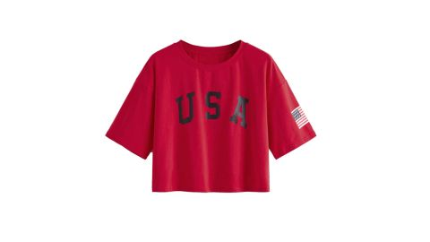 SweatyRocks Women's Letter Print Crop Tops Summer Short-Sleeve T-Shirt