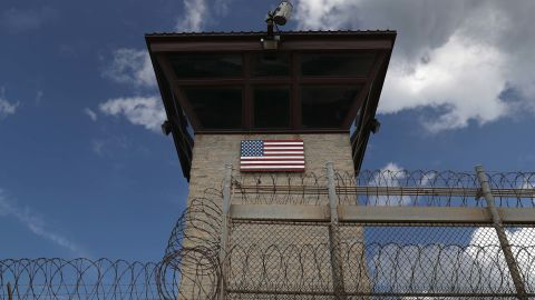 """GUANTANAMO BAY, CUBA - OCTOBER 23: (EDITORS NOTE: Image has been reviewed by the U.S. Military prior to transmission.) A guard tower stands at the entrance of the U.S. prison at Guantanamo Bay, also known as """"Gitmo"""" on October 23, 2016 at the U.S. Naval Station at Guantanamo Bay, Cuba. (Photo by John Moore/Getty Images)"""