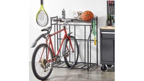 mDesign Freestanding Metal Bike Rack With Storage Shelf