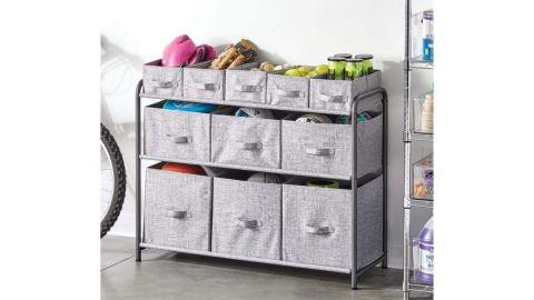 mDesign Wide 3-Tier Soft Storage Organizer With Bins