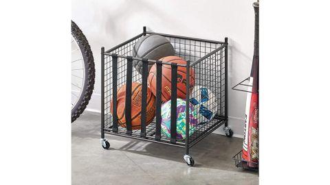 mDesign Metal Rolling Sports Equipment Storage Bin Holder Rack
