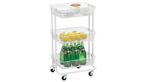 mDesign Metal 3-Tier Rolling Household Storage Cart