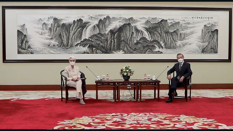 """Deputy Secretary of State Wendy Sherman meets with Chinese Foreign Minister Wang Yi in Tianjin, China, on July 26, 2021.  Beijing has indicated that the U.S. is treating China as an """"imaginary enemy"""" after the meeting between top diplomats Sherman and Wang. Sherman Meets With Wang in Tianjin, China, Beijing - 26 Jul 2021. U.S. State Department/UPI/Shutterstock"""