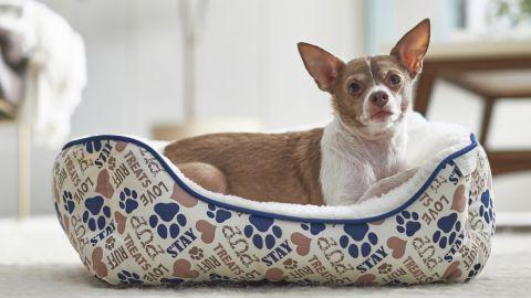 Frisco Sherpa Rectangular Bolster Cat & Dog Bed, Tan Novelty Paws, Small