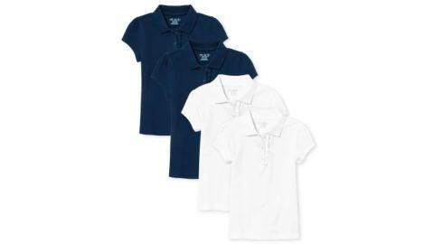 Girls' Uniform Ruffle Pique Polo, 4-Pack