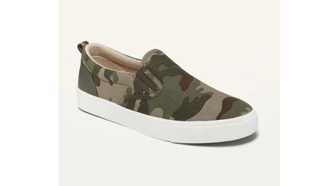 Gender-Neutral Camo Print Canvas Slip-Ons for Kids
