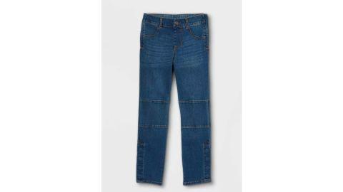 Boys' Adaptive Diaper-Friendly Jeans, Cat & Jack Dark Was