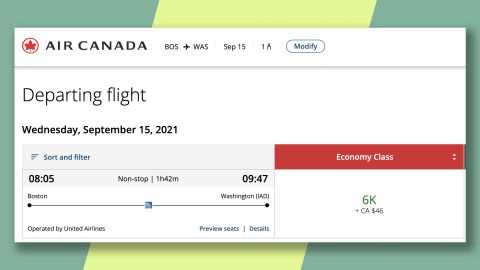 Fly from Boston to Washington, DC, one way on United for just 6,000 Aeroplan points.