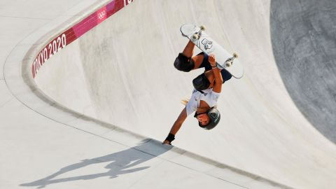TOKYO, JAPAN - JULY 31: Sky Brown of Team Great Britain gets inverted during training today at Ariake Skateboard Park  ahead of the Tokyo Olympic Games on July 31, 2021 in Tokyo, Japan. (Photo by Adam Pretty/Getty Images)