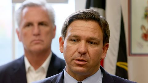 HIALEAH, FLORIDA - AUGUST 05: Florida Gov. Ron DeSantis speaks as House Republican Leader Kevin McCarthy (R-CA) listens during a press conference held at the Assault Brigade 2506 Honorary Museum on August 05, 2021 in Hialeah, Florida. The politicians addressed the media on their desire to see America push for democracy and freedom in Cuba and throughout Latin America. (Photo by Joe Raedle/Getty Images)