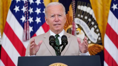 President Joe Biden speaks about the July jobs report during an event in the East Room of the White House, Friday, Aug. 6, 2021, in Washington.