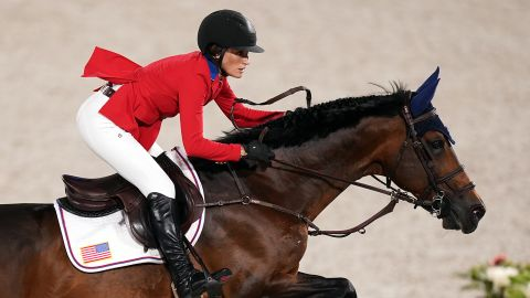 Jessica Springsteen helped her squad nab a silver medal in the team jumping final.
