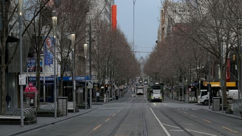 A quiet street in Melbourne during the city's sixth lockdown on August 6, 2021.