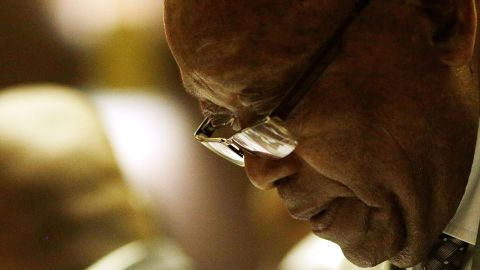 Zuma attends his trial in May 2019. He has pleaded not guilty to the charges against him.