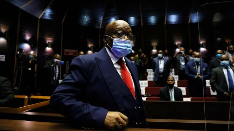 Zuma arrives for his trial in May 2021.