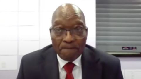 """Zuma appears virtually from the Estcourt correctional service facility in Pietermaritzburg, South Africa, in July 2021. He was <a href=""""https://edition.cnn.com/2021/07/20/africa/zuma-corruption-trial-adjourned-intl/index.html"""" target=""""_blank"""">seeking a further delay in his corruption trial.</a>"""