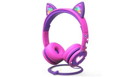 FosPower Kids' Headphones With LED Light-Up Cat Ears