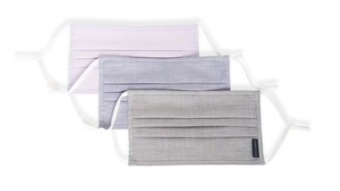 Reusable Poplin Pleated Fabric Face Masks, 3-Pack