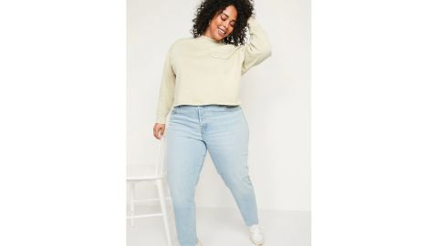 High-Waisted Slouchy Straight Button-Fly Cut-Off Jeans for Women