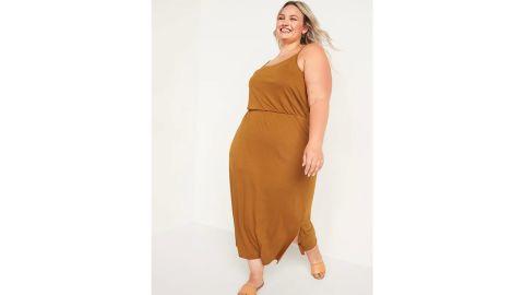 Sleeveless Waist-Defined Slub-Knit Midi Dress