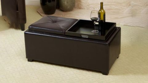 Noble House Maxwell Espresso Brown Leather Tray Ottoman
