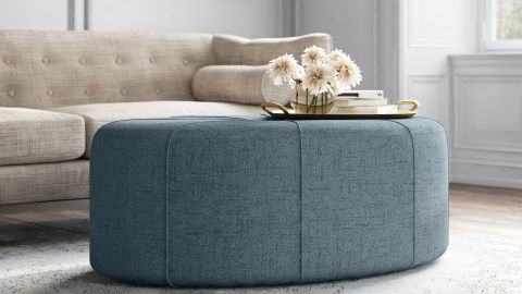 Kelly Clarkson Home Christopher 48.5-Inch Wide Tufted Oval Cocktail Ottoman