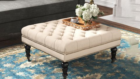 Kelly Clarkson Home Landis 34.63-Inch Wide Tufted Square Cocktail Ottoman