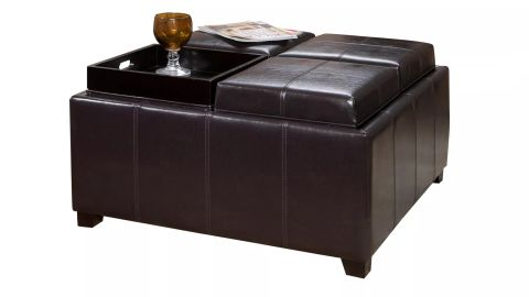 Christopher Knight Home Dayton 4-Tray Top Bonded Leather Storage Ottoman
