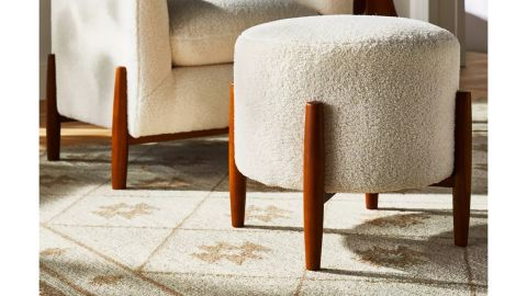 Threshold Designed With Studio McGee Elroy Sherpa Round Ottoman With Wood Legs Cream