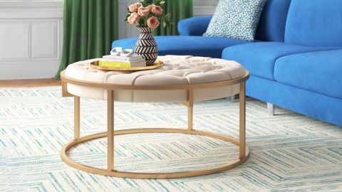 Gold Flamingo Gambier 38-Inch Wide Velvet Tufted Round Cocktail Ottoman