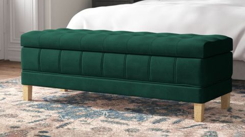 Kelly Clarkson Home Gloria 52-Inch Wide Velvet Tufted Rectangle Storage Ottoman