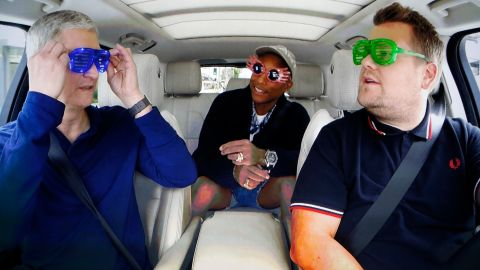 Cook with James Corden and Pharrell during a taped comedy bit shown on a projection screen during an Apple event in San Francisco on September 7, 2016.