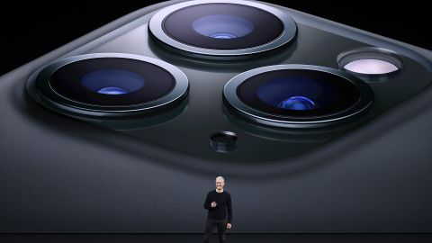 Cook speaks about the new iPhone Pro during an event at the Steve Jobs Theater in Cupertino on September 10, 2019.