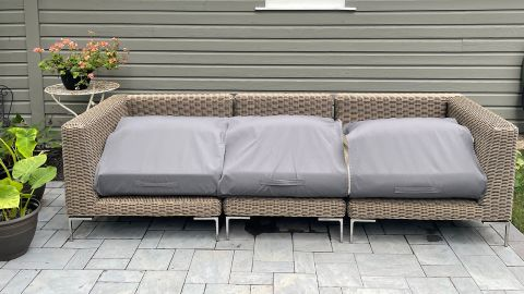 The Outer wicker sofa and patented OuterShell covers.