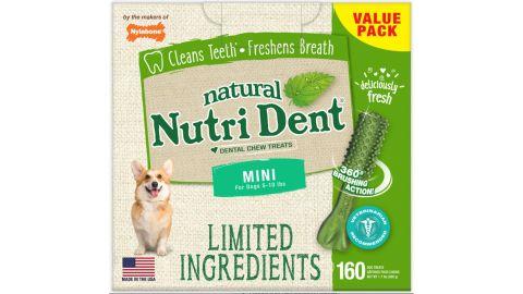 Nylabone Nutri Dent Limited Ingredients Fresh Breath Natural Mini Dental Dog Treats, 160-Count