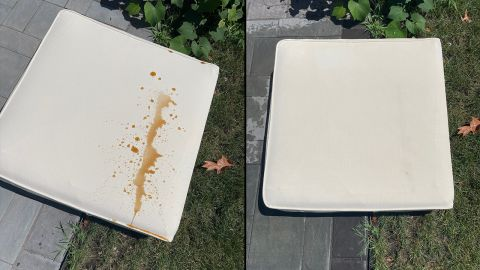 Before and after shot of stain-resistance testing on the Outer sofa.
