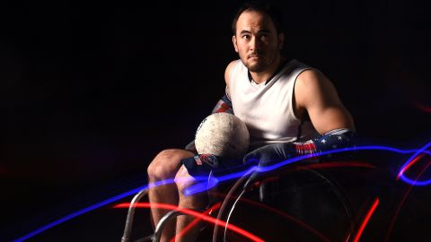 WEST HOLLYWOOD, CALIFORNIA - NOVEMBER 19: Wheelchair rugby athlete Chuck Aoki poses for a portrait during the Team USA Tokyo 2020 Olympics shoot on November 19, 2019 in West Hollywood, California. (Photo by Harry How/Getty Images)