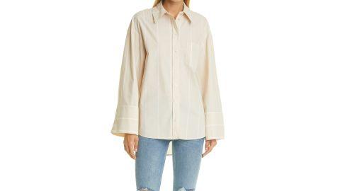 Anine Bing Allie Camel Stripe Organic Cotton Button-Up Shirt